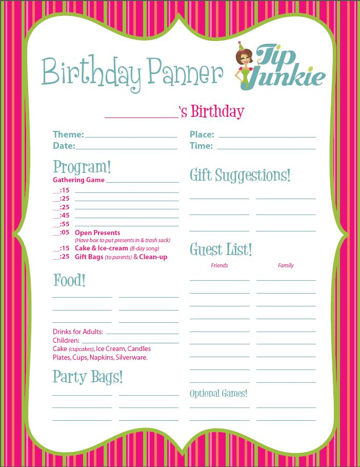 Printable Event Party Planners for Birthdays! {free} \u2013 Tip Junkie