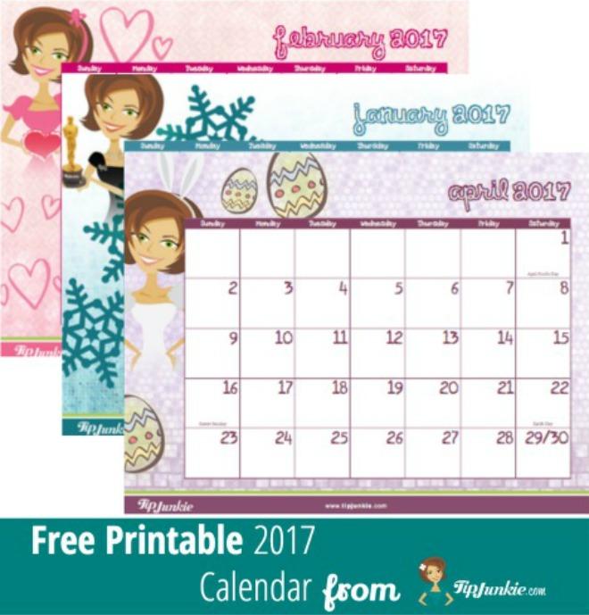 Free Printable 2017 Calendar by Tip Junkie Tip Junkie
