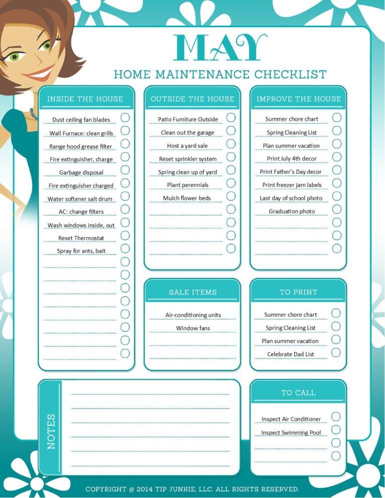 May Organization and Home Repair Checklist {free download} \u2013 Tip Junkie