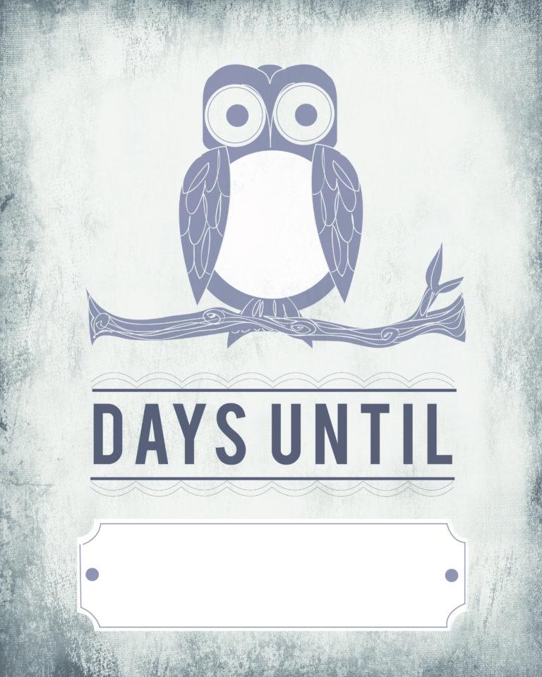 Owl Count Down Calendar \u2013 Blank Template printable Tip Junkie