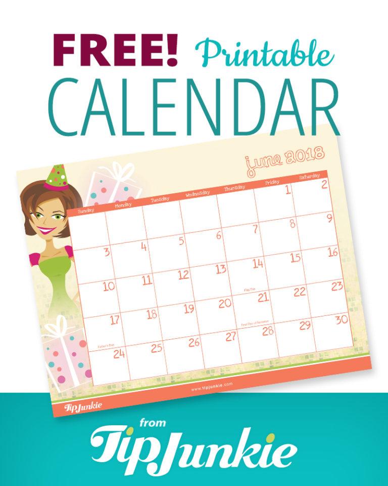 Free Printable 2018 Calendar by Tip Junkie Tip Junkie - free printable calendar