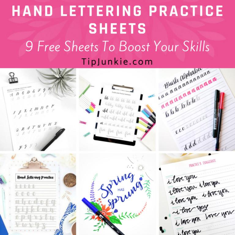 9 Free Hand Lettering Practice Sheets \u2013 Tip Junkie