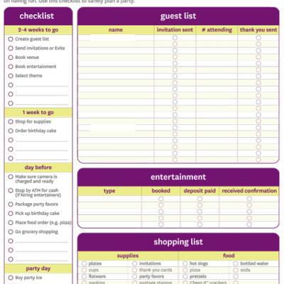 Birthday Party Checklist {Free Printable} \u2013 Tip Junkie