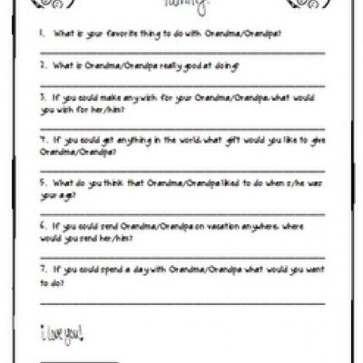Grandparent\u0027s Day Printable Questionnaire \u2013 Tip Junkie