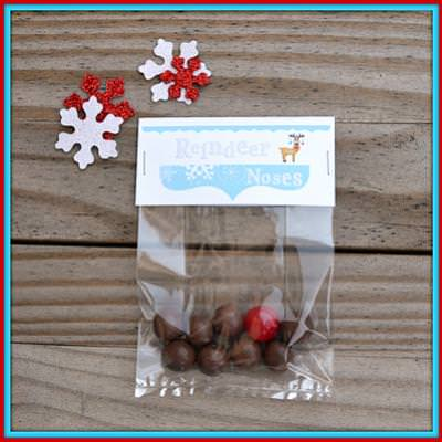Christmas Treat Bag Topper for Reindeer Noses {Christmas Printables