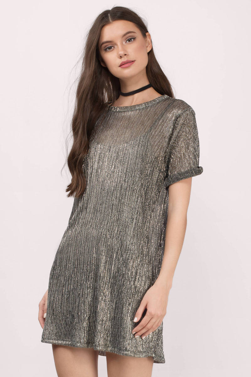 C En A Vesten Shine Bright Metallic Shift Dress