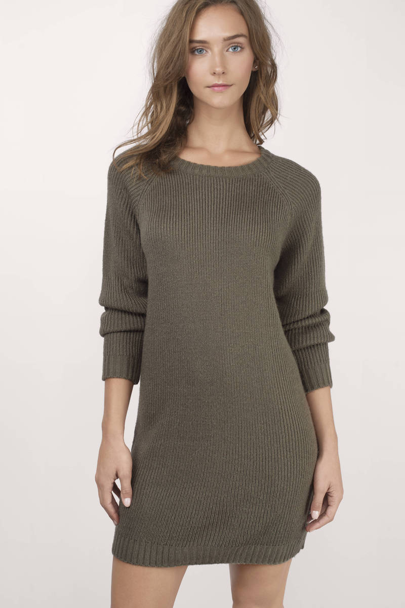 Sweater Dress Black Sweater - Long Sleeve Sweater - Army Black Sweater
