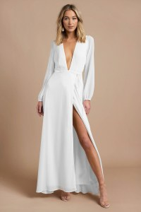 Pretty White Maxi Dress - Long Sleeve Dress - Elegant ...