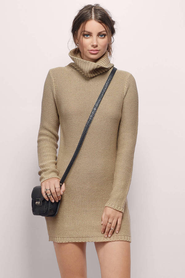 Sweater Dress Taupe Sweater Dress - Turtleneck Dress - Taupe Knit Day