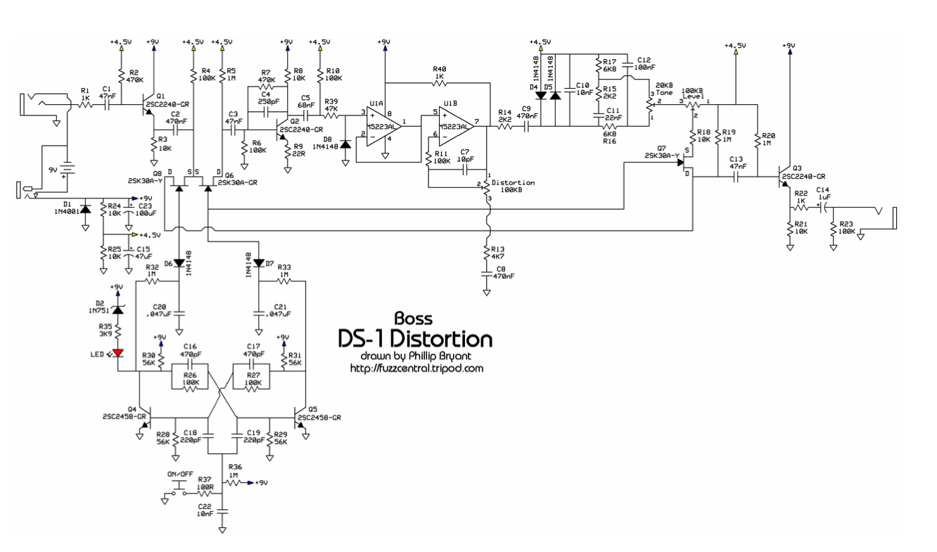 distortion pedal schematics