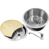 Round Bowl Kitchen Sink & Drainer Kit 440 x 185mm Deep ...