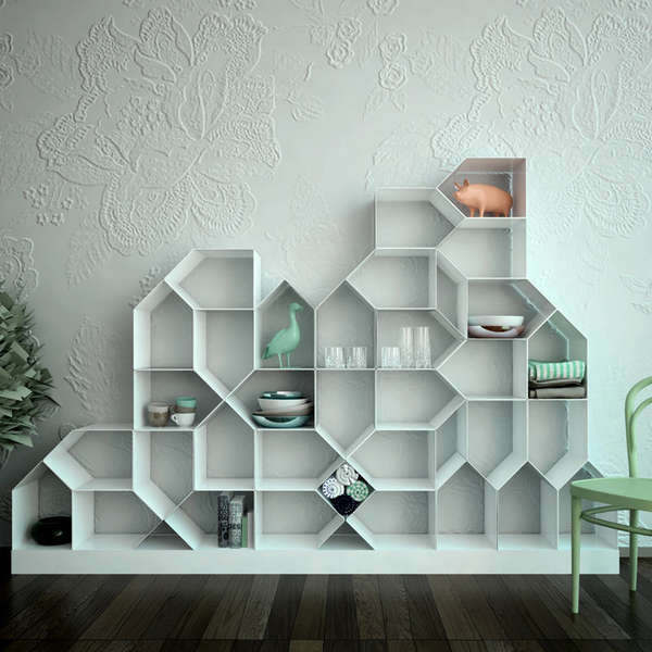 3d Bookshelf Wallpaper House Shaped Shelving Units Citybook Modular Bookcase