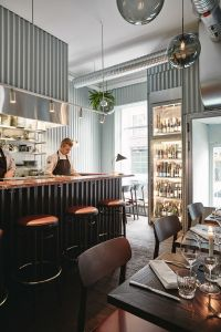 Metal-Clad Restaurant Interiors : corrugated metal wall panels
