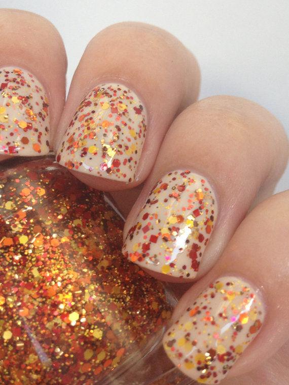 Glittery Autumn Manicures Fall Nail Polish