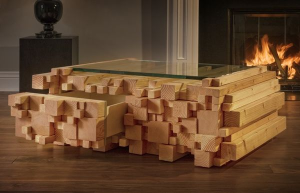 Weinregal Modern Wood-stacked Tables : Log Pile Coffee Table