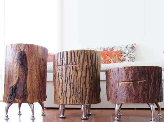 Meuble Tv En Bois Moderne Upcycled Arboreal Furniture : Nickadoo Tree Trunk Tables