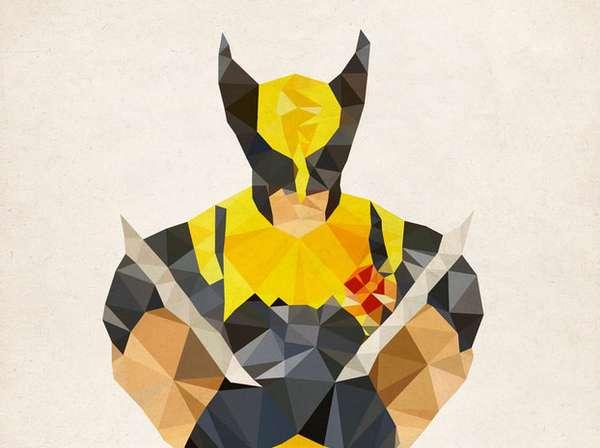 Anime Glass Wallpaper Geometric Avenger Art Polygon Heroes