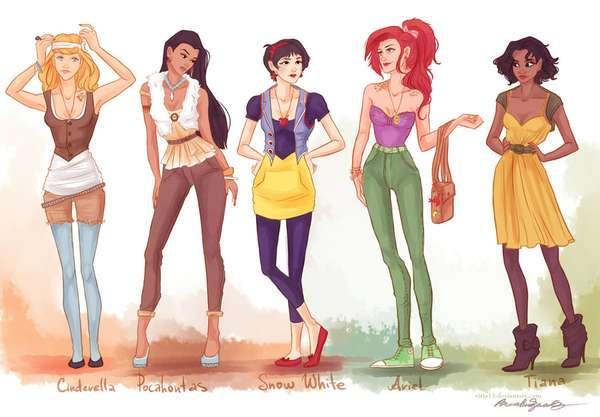 Hipster Princess Depictions Viria13 Fashion Princesses