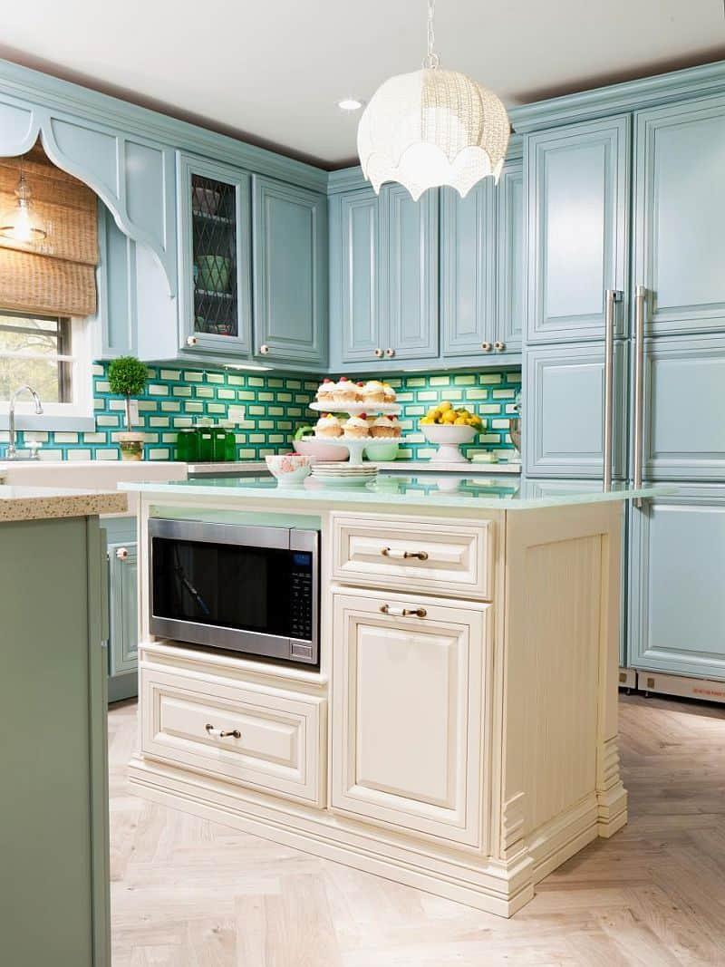 powder blue kitchen blue green white fused glass tile backsplash kitchen rich brown cabinetry mosaic tile backsplash hgtv