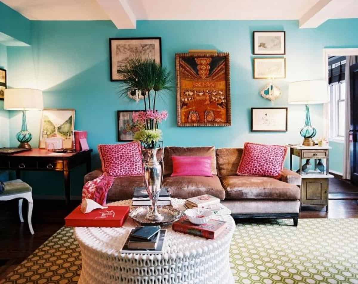 What Color Curtains With Blue Walls Brown Furniture Blue Living Room Walls With Brown Sofa And Pink Pillows