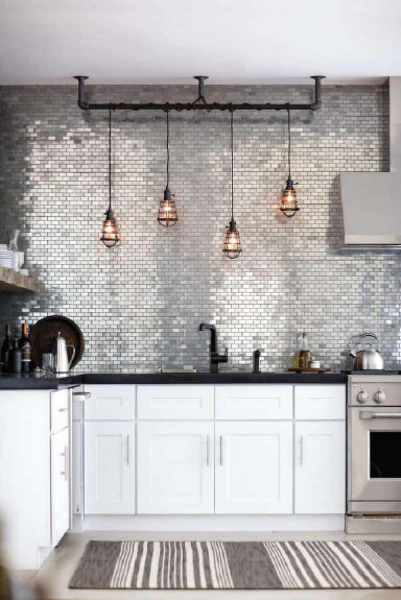 modern kitchen backsplash backsplash kitchen View in gallery Metallic backsplash tiles
