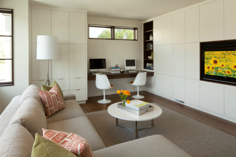 Modern Built-ins for Every Room and Purpose - desk in living room