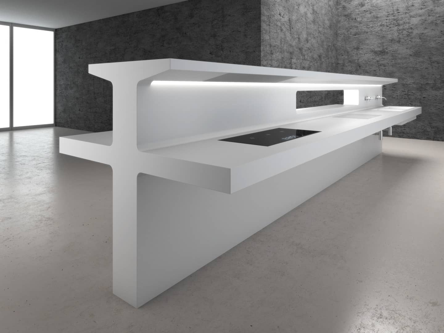Counter Height Kitchen Island Futuristic Wall Mounted Kitchen By Antonio Lupi - Lacucina