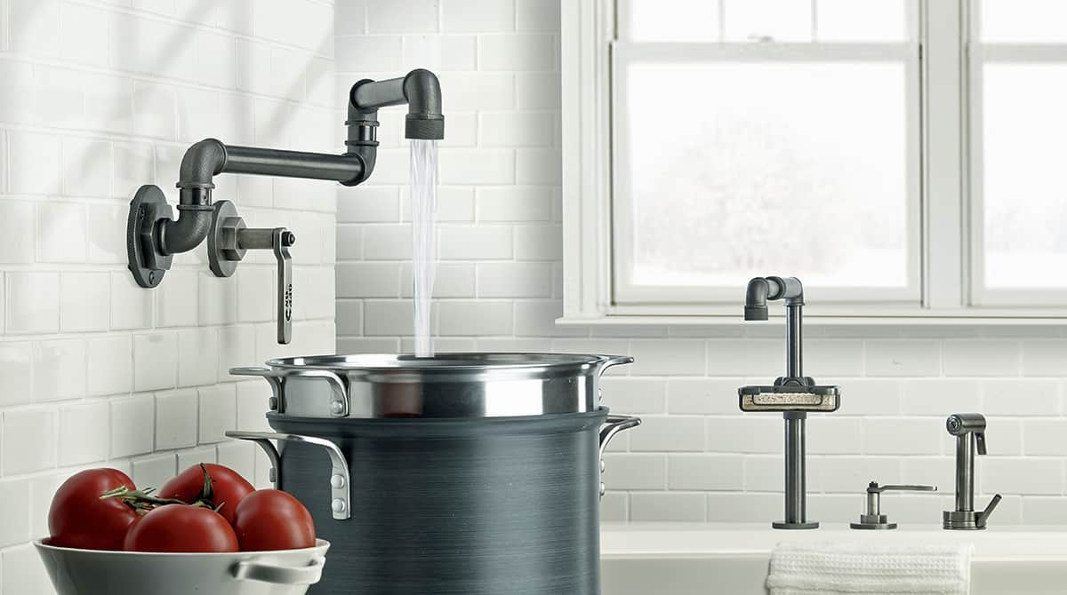 industrial kitchen faucets ubmicccom ideas home decor industrial kitchen faucet Industrial Style Faucets By Watermark To Give Your Plumbing The