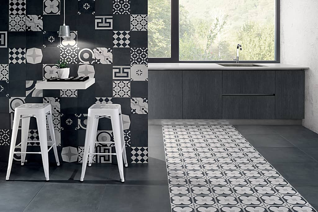 Tappeto Nero Grigio Bianco Modern Art Deco Tiles From Fioranese Rock In Black And White