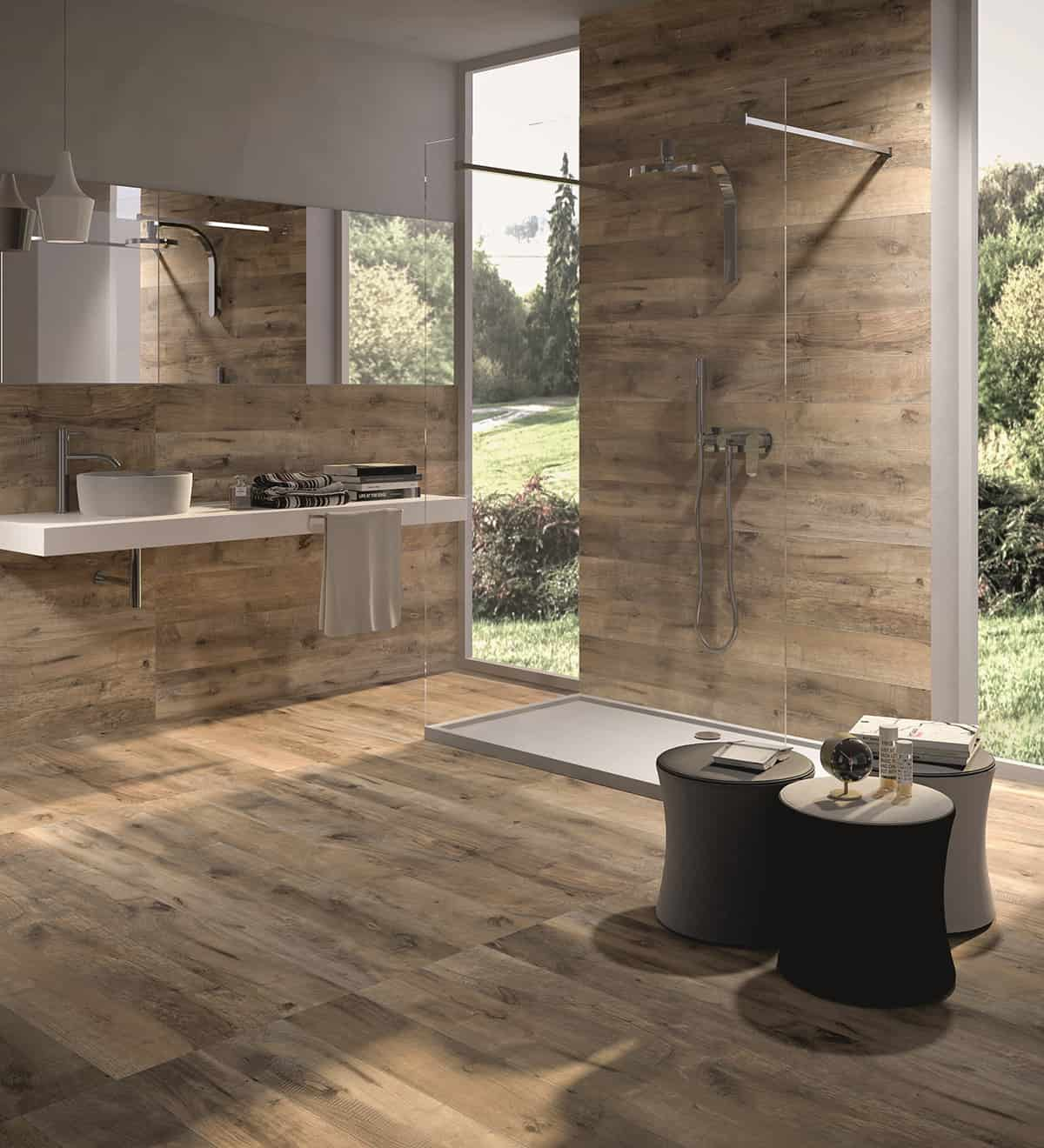 Wood Looking Tile Bathroom Wood Look Tile 17 Distressed Rustic Modern Ideas