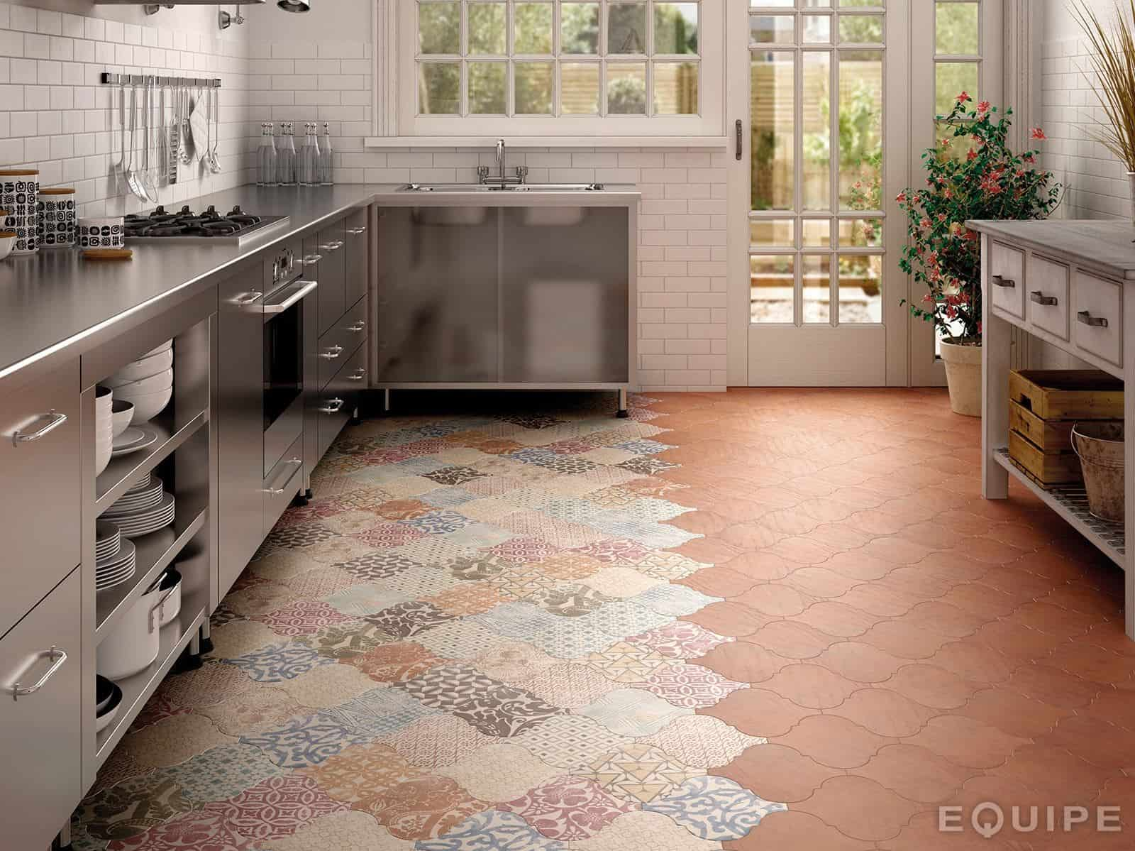 21 arabesque tile ideas for floor wall and backsplash flooring for kitchen View in gallery arabesque tile kitchen floor patchwork equipe 4