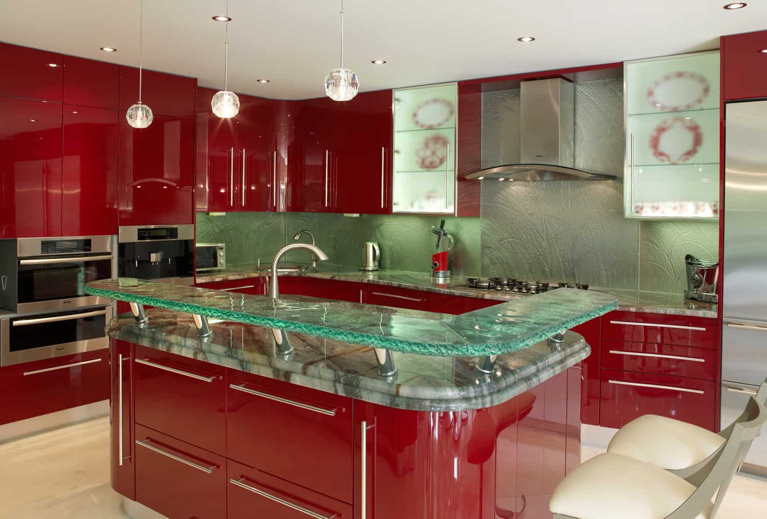 Glasplatte Küchenwand Modern Kitchen Countertops From Unusual Materials 30 Ideas