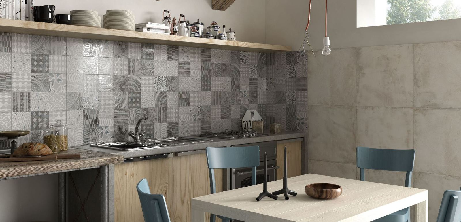 kitchen backsplash grey monochrome patchwork patterns ricchetti white cabinets grey backsplash kitchen subway tile outlet
