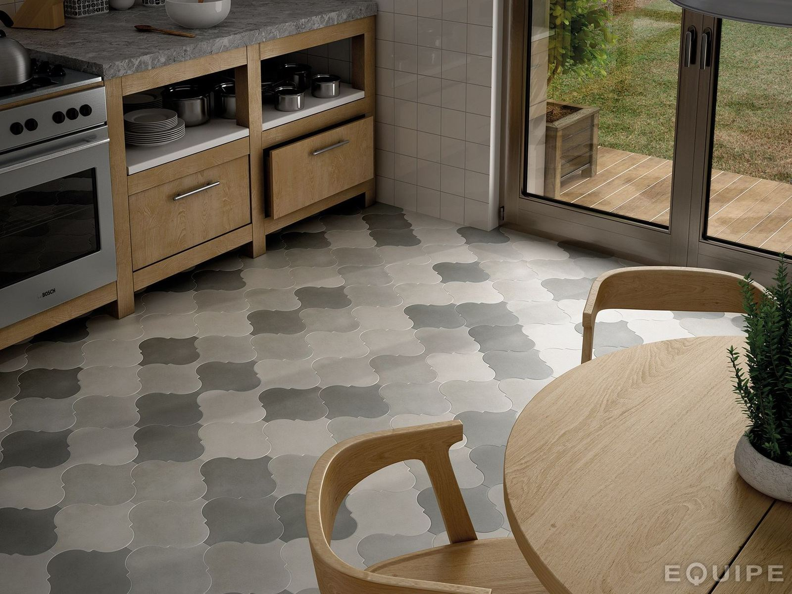 21 arabesque tile ideas for floor wall and backsplash kitchen floor tile ideas View in gallery arabesque tile floor kitchen grey 9