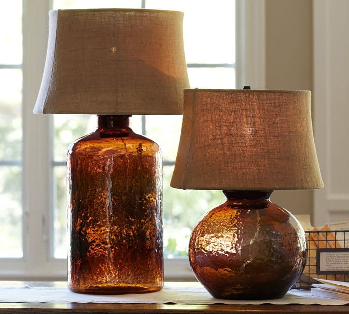 Lampara Bronce Colored Glass Table Lamps From Pottery Barn - Clift Collection