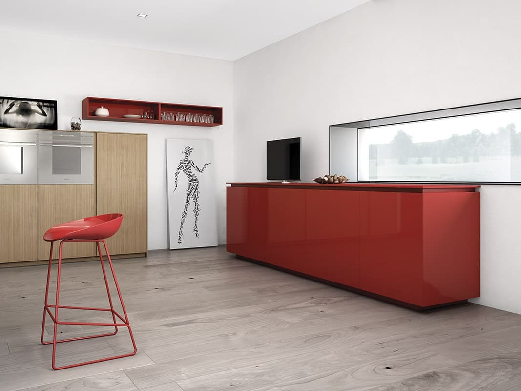 Red Accents Minimalist Kitchen With Red Accents By Comprex