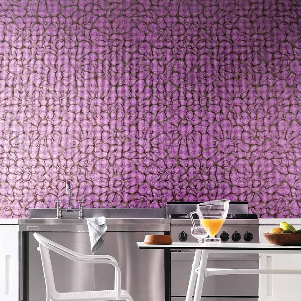 Salon Aubergine Stunning Floral Patterned Mosaic Tiles From Bisazza