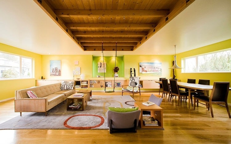 Exposed Ceiling Joists Support Swing Seat In fun Seattle Home