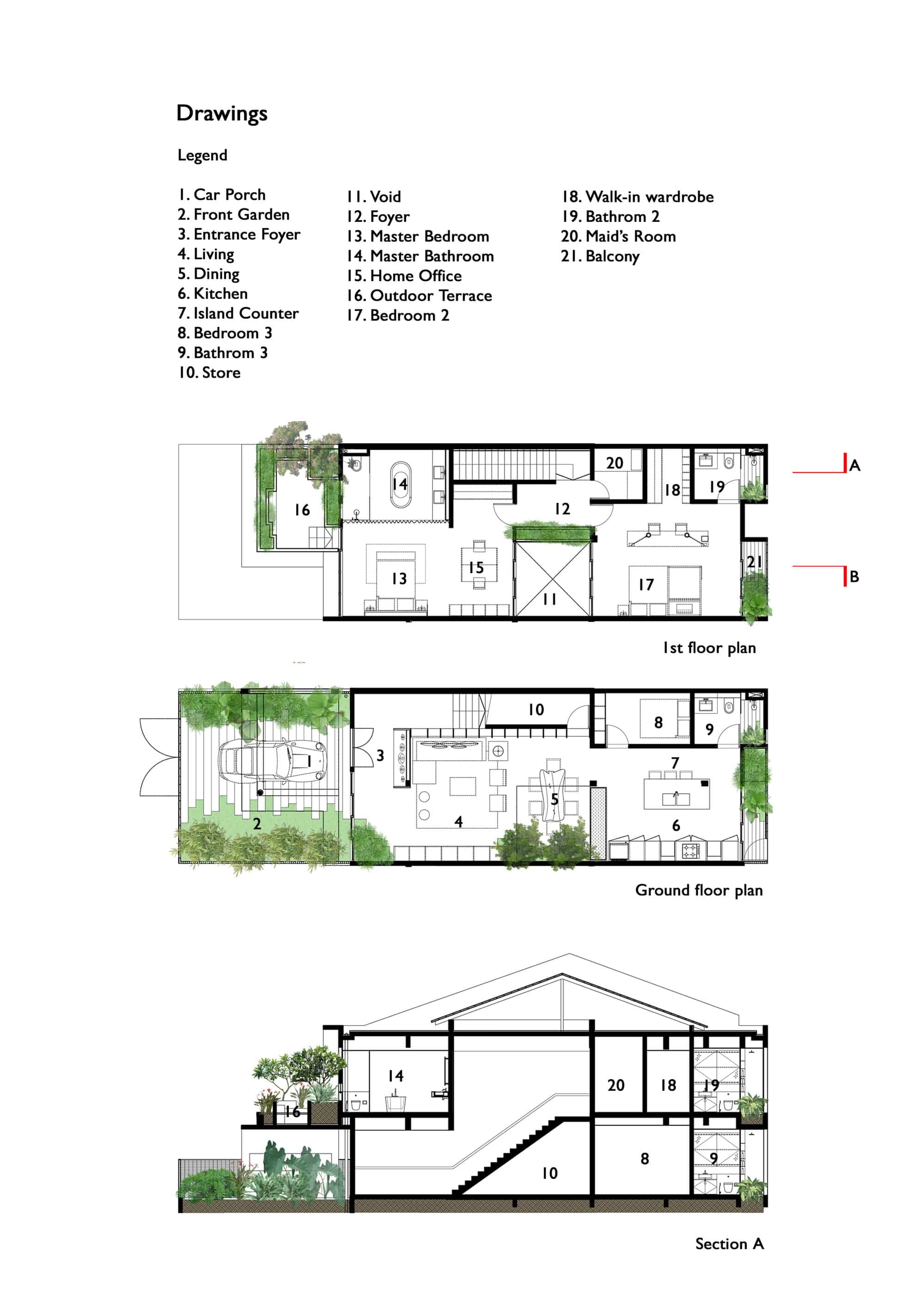 Housing Floor Plans Layout Trees And Shrubs Create Faux Courtyard Inside House