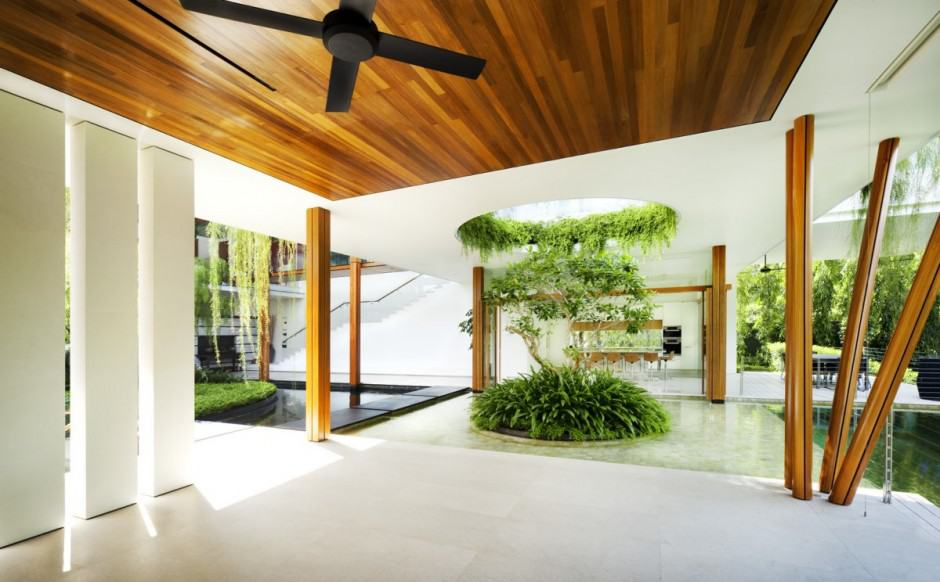 3d Wallpaper For Living Room In India Outdoor House Plan With Interior Courtyard And Rooftop Garden
