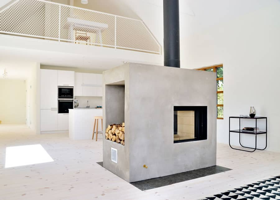 Swedish Design House Swedish Loft House With Concrete Fireplace Feature