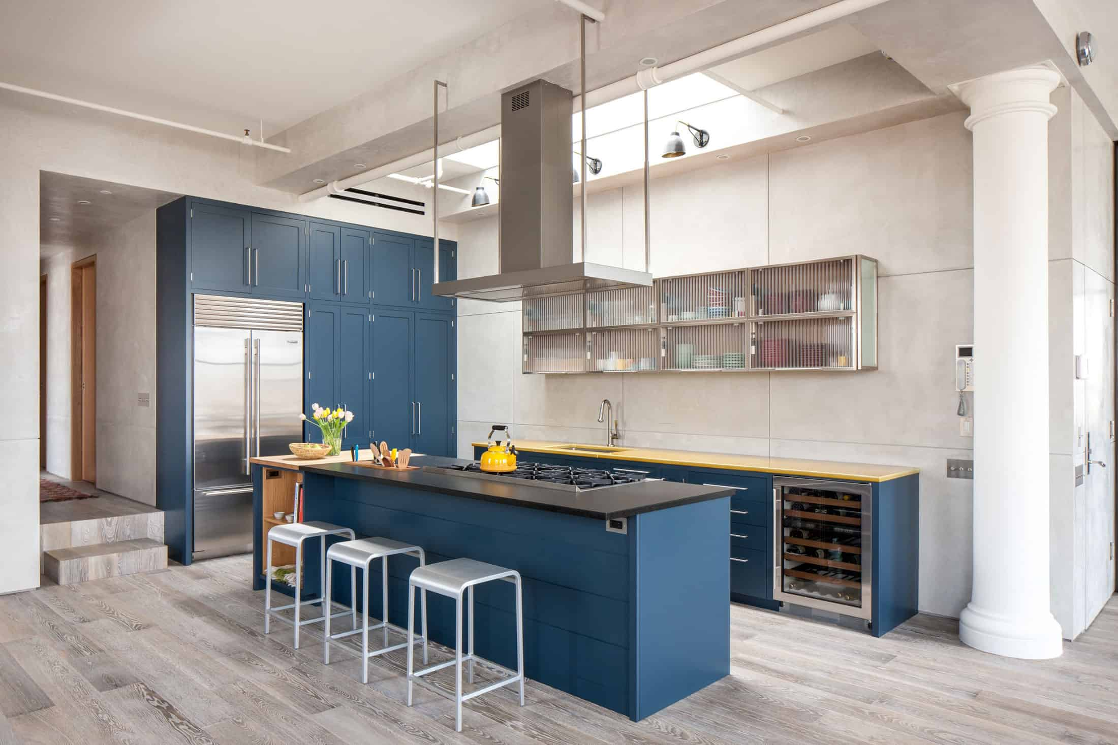 Blue Cabinets In Kitchen Royal Blue Kitchen On Light Color Floors Is A Modern