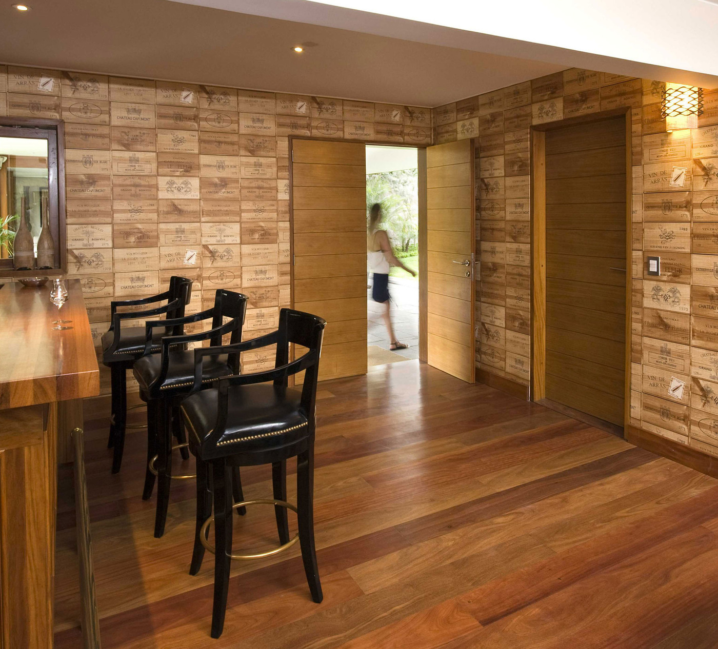 Grey Brick Wallpaper 3d Bar Walls Decorated In Wine Crate Panels This Begs For A
