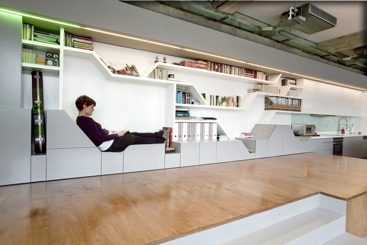 Bücherregal Industrial industrial Loft With Seating Integrated Into Shelves
