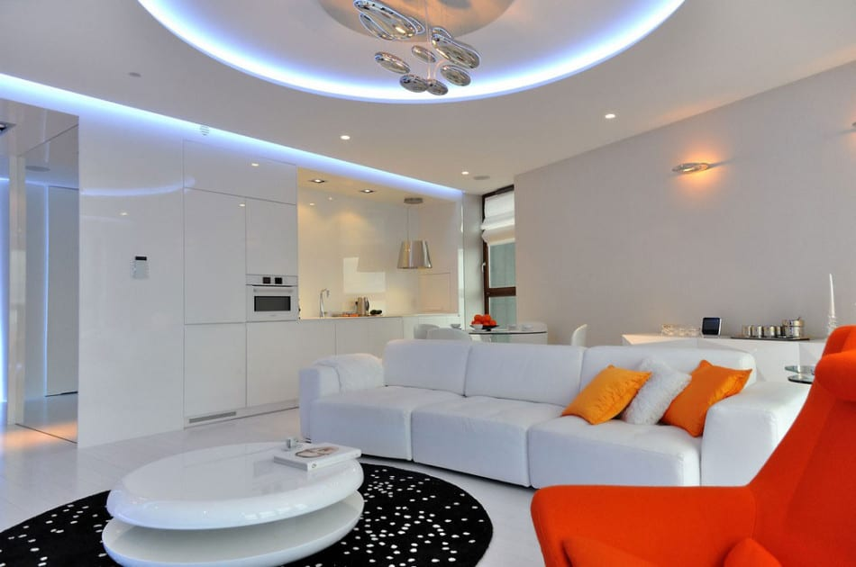 Stylish Contemporary Apartment Boasting Sophisticated Lighting System - the living room center