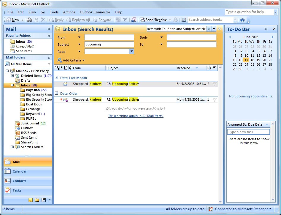 What makes Microsoft Outlook 2007\u0027s Search feature special?
