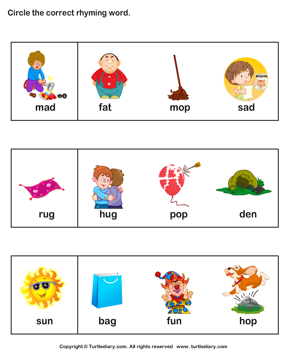 Number Names Worksheets rhyming worksheets for kindergarten free – Kindergarten Rhyming Worksheets