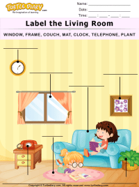 Label the Living Room Worksheet - Turtle Diary