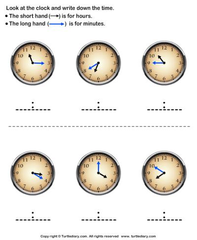 Reading Clock Worksheet - Turtle Diary
