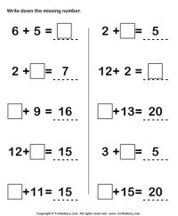Kindergarten Number Sentence Worksheets - preschool ...